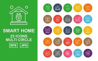 25 Premium Smart Home Multi Circle Icon Pack vektor