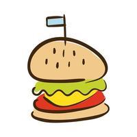 flache Hamburger Fast-Food-Stilikone vektor