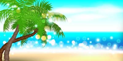 sommartid strand palm landskap vektor