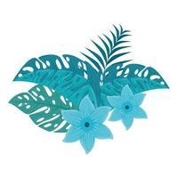 Blumen blaue Farbe, mit Zweig und tropischen Blättern auf weißem Hintergrund vektor