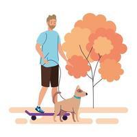 ung man på en promenad med en hund utomhus, på vit bakgrund vektor