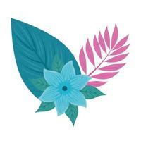 Blume blaue Farbe, mit Zweig und tropischen Blättern auf weißem Hintergrund vektor