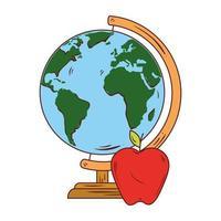 skolasymbol, äppelröd med världsplanet jord skolutbud vektor