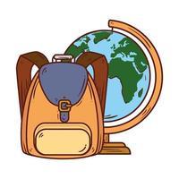 skolasymbol, ryggsäck med världsplanet jord skolutbud vektor
