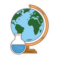skolasymbol, rörprov med världsplanets jordskolutbud vektor