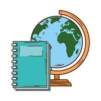 skolasymbol, anteckningsbok med världsplanet jord skolutbud vektor