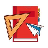 Notizbuchversorgungsschule mit Symbolen auf weißem Hintergrund vektor