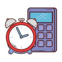 miniräknare matematik med väckarklocka på vit bakgrund