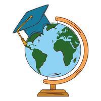 skolasymbol, hatt examen med världsplaneten jord skolutbud vektor