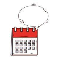 Kalendererinnerung mit Sprechblase auf weißem Hintergrund