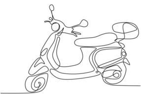 ein Strichzeichnung Motorrad. minimales Design der abstrakten Handzeile der Motorradhand, lokalisiert auf weißem Hintergrund.