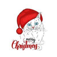 Vektorkatze im Hut und in der handgemachten Beschriftung - frohe Weihnachten. Hand gezeichnete Illustration der gekleideten Katze. Winterzeit