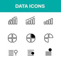 Datensymbolsatz und Datendiagramm vektor