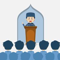 Leute, die dem Dozenten zuhören, der in der Moschee spricht vektor