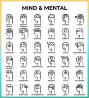 mental och mind pixel perfekta konturikoner vektor