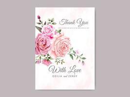 vacker och elegant blommig bröllop tack mall vektor