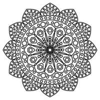 Mandala mit Ornamenten. Mandala für Malbuchseite. kreisförmiges Muster in Form eines Mandalas vektor
