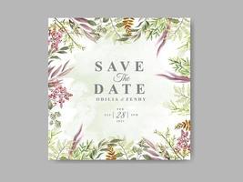 vackert och elegant blommigt bröllop spara datummallen vektor