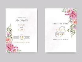 vacker och elegant blommig bröllopsinbjudningsmall vektor