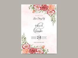 schöne und elegante Blumenhochzeitseinladungsschablone vektor