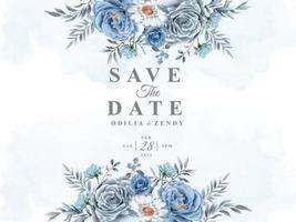 schöne und elegante Blumenhochzeit speichern die Datumsvorlage vektor