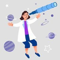 weibliche Figur des Astronomiewissenschaftlers schwebendes fantasievolles Design vektor