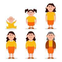 kvinna platt karaktär i olika åldrar vektor