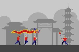 kinesiska byggnadslandskap och traditionell drakedans vektor