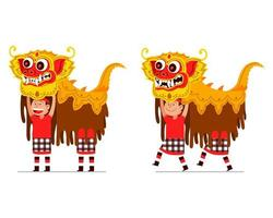 utförande av traditionell balinesisk lejondansare
