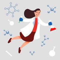 Frau Chemiewissenschaftler Charakter schwebend einfallsreiches Konzept vektor