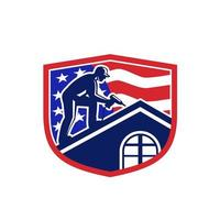 Retro-Wappen oder Emblem der amerikanischen Dachdecker-USA-Flagge vektor