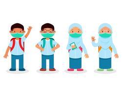 Kinder des islamischen Schülers während der Pandemie Zeichensatz vektor