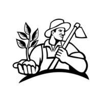 Bio-Landwirt hält Pflanze und hält Hacke Maskottchen in schwarz und weiß vektor