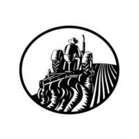 ekologisk bonde arbetare som kör en vintage traktor plöjning gård emblem vektor