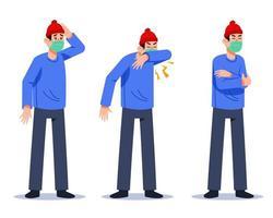 Mann mit Grippesymptomen Vektorcharakter vektor