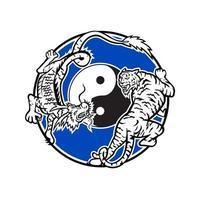 Tiger und chinesischer Drache kämpfen Kreis Maskottchen