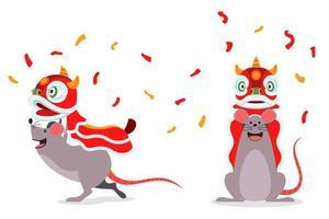 Rattenkarikaturfigur, die traditionellen chinesischen Löwentanz durchführt vektor