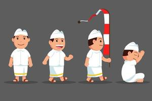 niedlicher Cartoon-Zeichensatz des Bali-Jungen vektor
