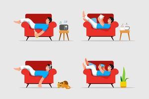man lägger ner och kopplar av på soffan vektorillustration