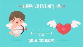 Amor höll en båge och pekade en pil mot hjärtat. sociala avstånd idéer för alla hjärtans dag vektor