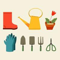 Gartenwerkzeuge flache Grafiksammlung vektor