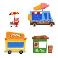 Schrägkarikaturillustration des Straßenlebensmittelverkäufers vektor