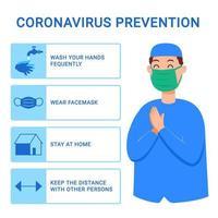 Mann Moslem gibt Tipps, die verhindern, dass sich Grippeviren verbreiten vektor