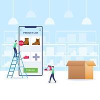 Hinzufügen von Waren im Geschäft über die E-Commerce-Anwendung vektor