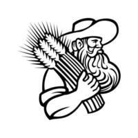 ekologisk kornbonde eller vetebonde med skägg som håller en massa torkad vete retro maskot i svartvitt