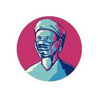 Krankenschwester trägt Maske und Kappe Kreis wpa