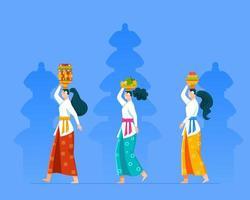 gå balinesisk tjej ger fruktoffer för rite ceremoni vektor