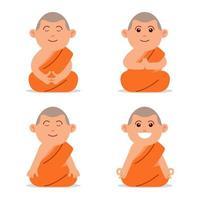 meditierender buddhistischer Mönch flacher Charakter vektor