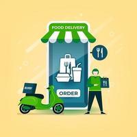 Lieferbote hält einen Lebensmittelbeutel mit einem Motorrad stehend. Lebensmittellieferung online über mobile Anwendung.