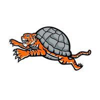 sköldpadda tiger hoppande sida maskot design